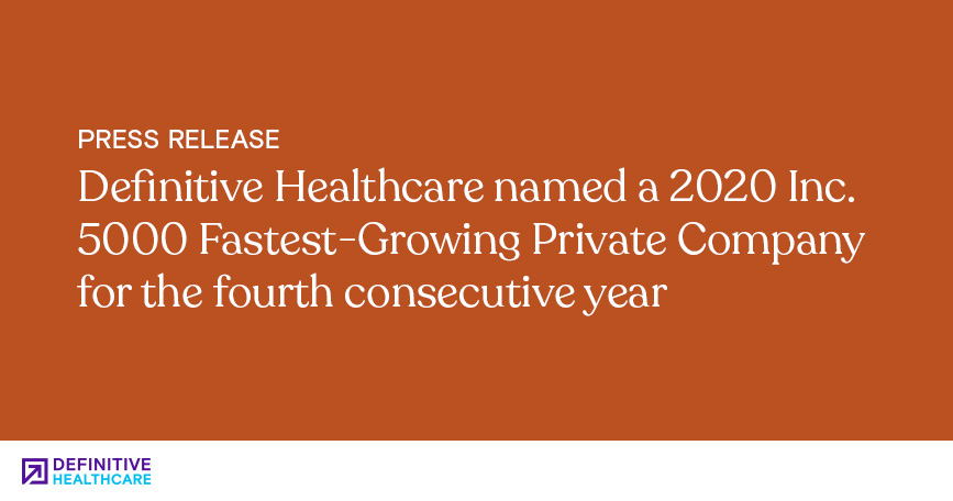 Definitive Healthcare Named a 2020 Inc. 5000 Fastest-Growing Private Company for the Fourth Consecutive Year
