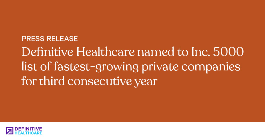 Definitive Healthcare Named to Inc. 5000 List of Fastest-Growing Private Companies for Third Consecutive Year